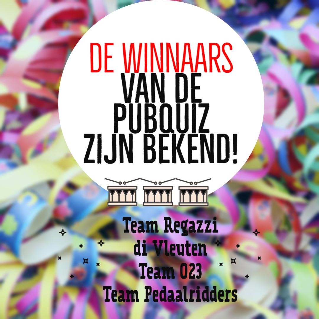 Uitslagen en winnaars van de Pubquiz